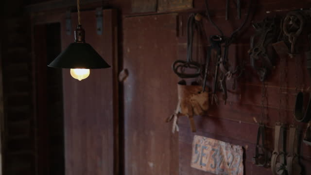 cu single lightbulb in barn and rusty tools on wall / hooker, ok, united states  - old lightbulb stock videos and b-roll footage