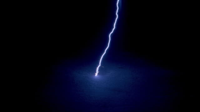 single lightning stroke hitting floor - tesla coil stock videos and b-roll footage