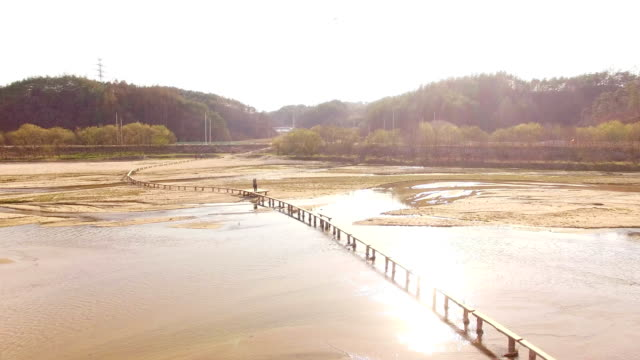 single log bridge at naeseongcheon stream in museommaeul village - log stock videos and b-roll footage