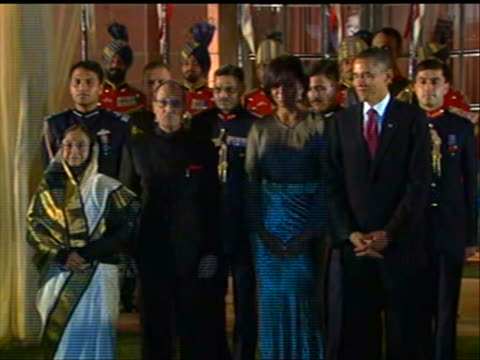 new delhi, india president obama, first lady michelle obama, india president pratibha patil and her husband arrive at state dinner at the rashtrapati... - healthcare and medicine or illness or food and drink or fitness or exercise or wellbeing stock videos & royalty-free footage