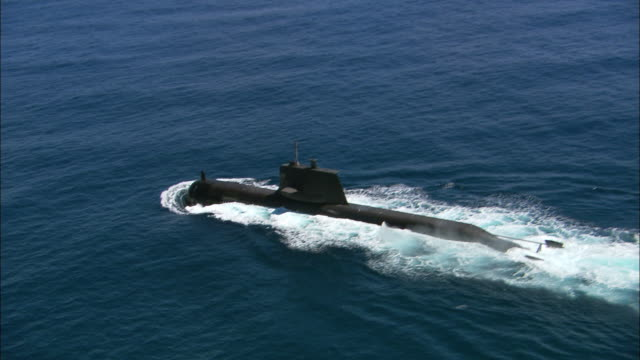 MS TS AERIAL Single submarine in ocean, Perth, Western Australia, Australia