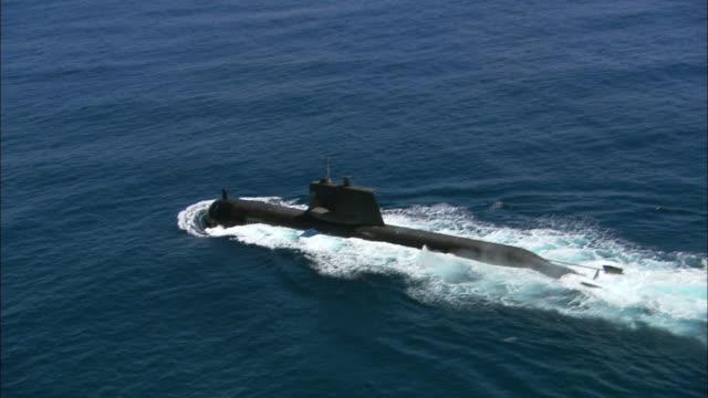 ms ts aerial single submarine in ocean, perth, western australia, australia - submarine stock videos and b-roll footage