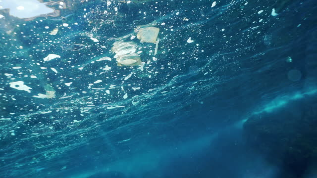 vídeos de stock e filmes b-roll de single use plastic pollution in the ocean underwater point of view - poluição de água