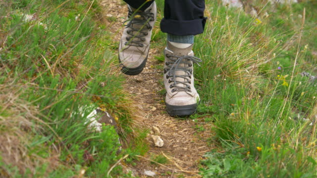 Single Woman Hiking On Mountain Trail