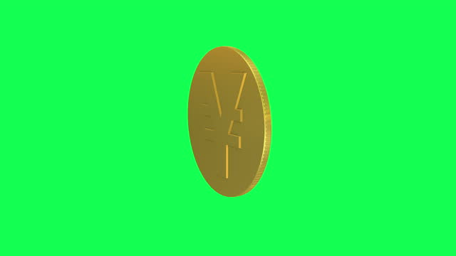 single yen sign coin rotating loopable animation. gold yen coin loopable - yen sign stock videos & royalty-free footage