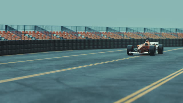 single-seater auto racing race car on desert circuit - finish line - high quality 3d animation - formula one racing stock videos & royalty-free footage