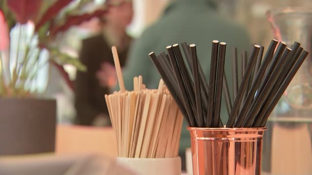 vídeos de stock e filmes b-roll de single-use plastics to be banned from april 2020; england: london: int reporter to camera sot paper straws in cup on table in cafe ext sam... - utilização única