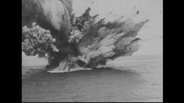 Sinking ship explodes during WWII