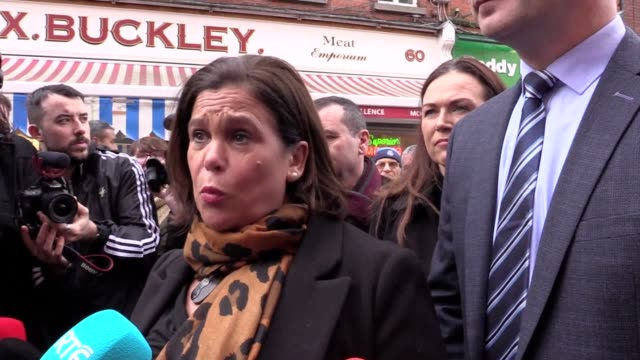sinn fein encourage voters to vote for change on the canvas trail in dublin president of sinn fein mary lou mcdonald speaks to the media - canvas stock videos & royalty-free footage