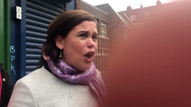 sinn fein leader mary lou mcdonald reacts to statement that there will be renewed stormont power sharing talks between her party and the dup next... - stormont stock videos and b-roll footage