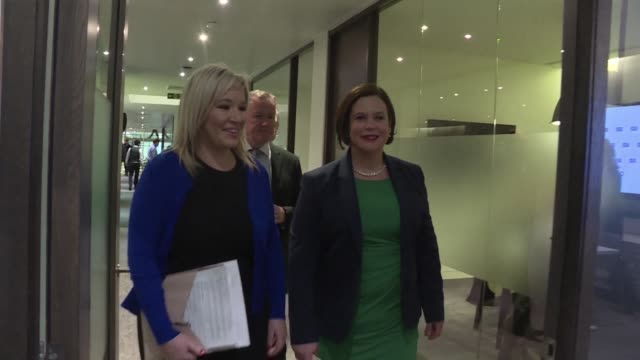 sinn fein leader mary lou mcdonald warned thursday that brexit was a clear and imminent threat to the island of ireland and was incompatible with... - sinn fein stock videos & royalty-free footage