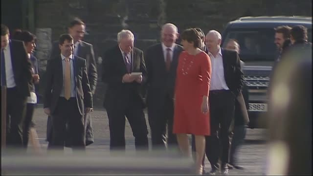 sinn fein politician and former ira terrorist martin mcguinness dies aged 66 lib mcguinness along with then first minister arlene foster and others... - martin mcguinness stock videos and b-roll footage
