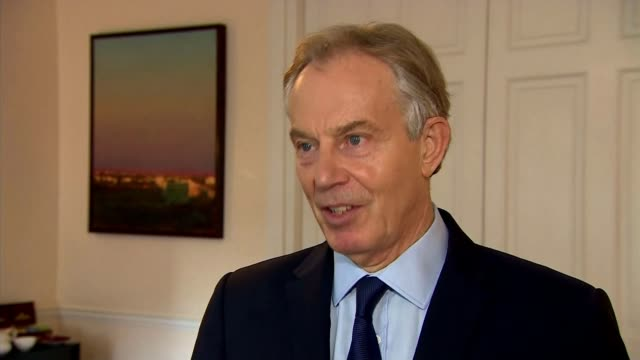 sinn fein politician and former ira terrorist martin mcguinness dies aged 66 england london int tony blair interview sot we will remember his legacy... - martin mcguinness stock videos and b-roll footage