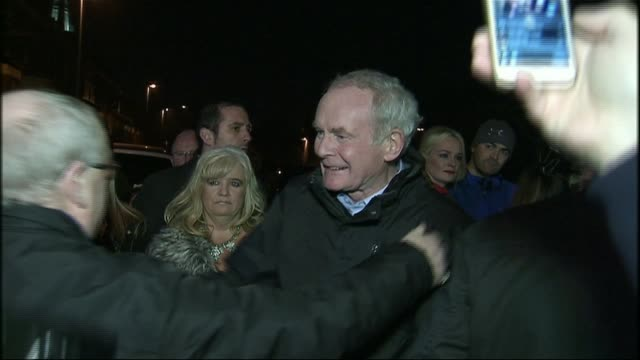 sinn fein politician and former ira terrorist martin mcguinness dies aged 66 lib mcguinness surrounded by supporters after announcing he would not... - martin mcguinness stock videos and b-roll footage