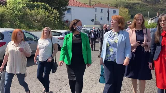 sinn fein president mary lou mcdonald urges prime minister boris johnson to do more for the ballymurphy families after she met with them in west... - 検死官点の映像素材/bロール
