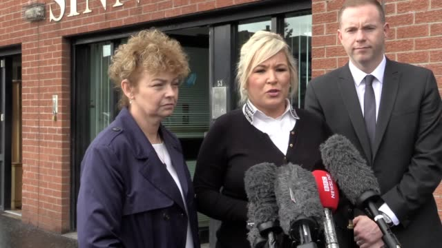 sinn fein vice president michelle o'neill speaks outside the party's headquarters in belfast, as they react to the supreme court ruling that... - ulster province stock videos & royalty-free footage