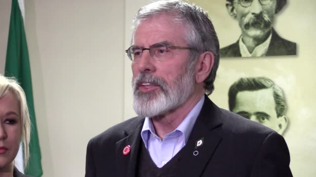 sinn fein's gerry adams and michelle o'neill hold a press conference in derry after the death of martin mcguinness - gerry adams stock videos and b-roll footage