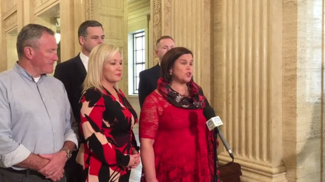 sinn fein's leader has said she is ready to do business on a stormont powersharing deal warning that time has run out on the political stalemate mary... - sinn fein stock videos & royalty-free footage