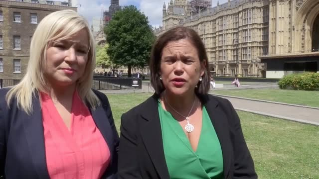 sinn fein's michelle o'neill and mary lou mcdonald get ready to meet theresa may to discuss brexit and ireland the sinn fein leader buys a t shirt... - sinn fein stock videos & royalty-free footage