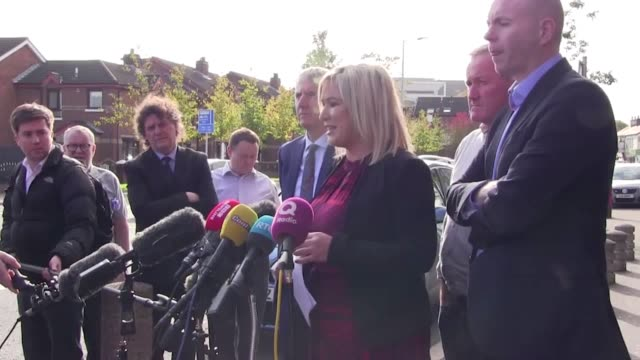 sinn fein's michelle o'neill says her party are going through the details of the new brexit deal struck between the uk and eu. eu leaders approved... - dup stock-videos und b-roll-filmmaterial