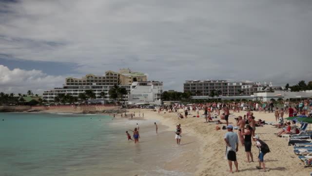 Sint Maarten, Caribbean island, independent from the Netherlands since 2010. Philipsburg. View from beach near Princess Juliana Airport. Landing aircraft DC-10, Air France