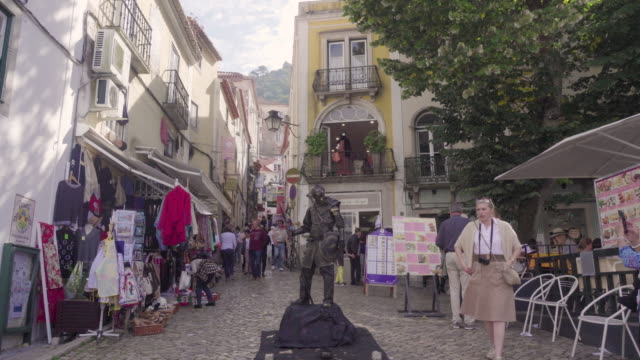 Sintra Portugal tourist square with living statue