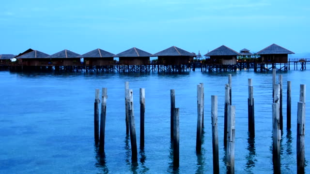 sipadan water village in the morning - sabah state stock videos and b-roll footage