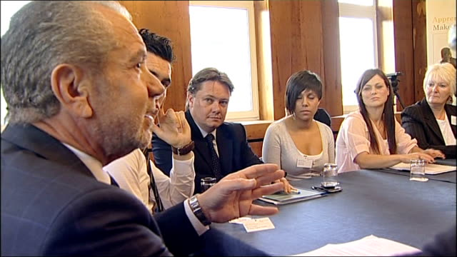 sir alan sugar attends apprenticeship seminar in gateshead more of sugar chatting to apprentices around meeting table sir alan sugar press conference... - gateshead stock videos and b-roll footage