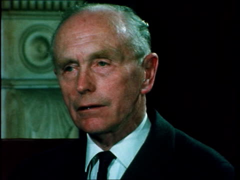"""sir alec douglas-home interview; england: london: foreign office: int sir alec douglas-home : sof: """"because they [asians in uganda who are to be... - alec douglas home video stock e b–roll"""