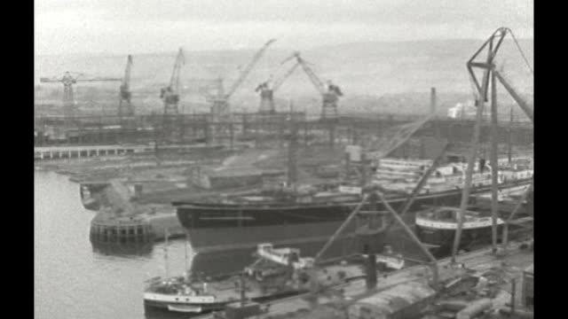 sir alex ferguson autobiography; 1957 scotland: glasgow: b/w footage govern shipyard - shipyard stock videos & royalty-free footage