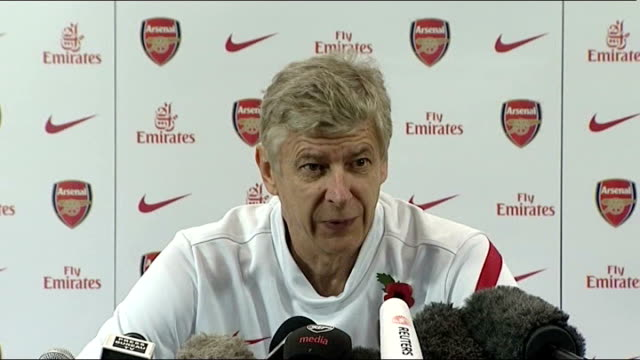 Sir Alex Ferguson to celebrate 25 years in charge at Manchester United London Emirates Stadium INT Arsene Wenger press conference SOT Don't know...