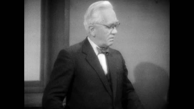 sir alexander fleming explaining how his research into staphylococcus led to contamination and discovering mould in 1955 - 1955 stock videos & royalty-free footage