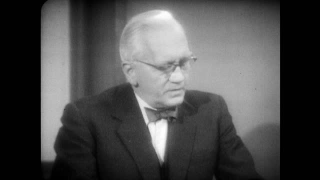 sir alexander fleming speaking in 1955 on the future of antibiotics developing it to treat other bacteria and how there are no similar treatments for... - 1955 stock videos & royalty-free footage