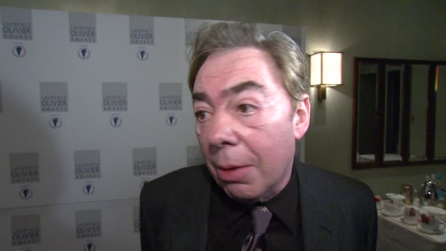 sir andrew lloydwebber on how lucky he is to make a living doing what he loves despite the ups and downs of the world of musicals at the the laurence... - andrew lloyd webber stock videos and b-roll footage
