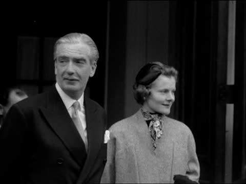 Sir Anthony Eden and his wife wave to the crowds following his appointment as Prime Minister