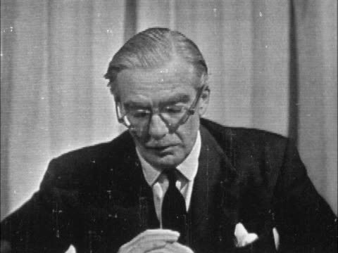 sir anthony eden gives televised speech regarding suez; england: london: anthony eden to camera, sof . - suez stock videos & royalty-free footage