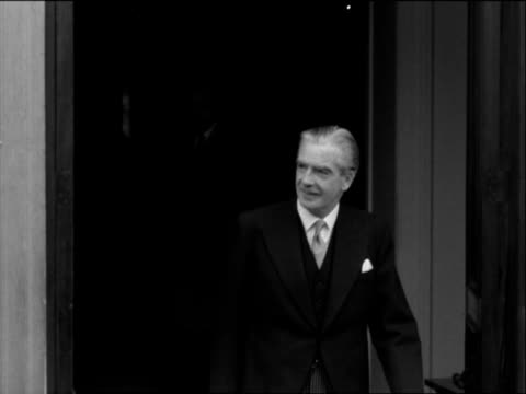 Sir Anthony Eden greets the press following his appointment as Prime Minister