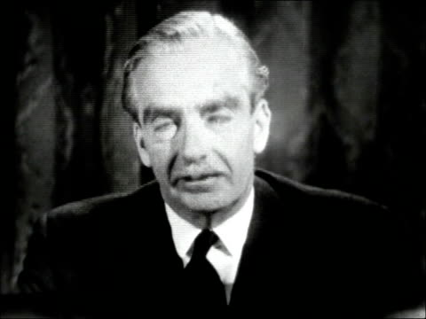 Sir Anthony Eden speaks to the country about visit by Russian leaders ENGLAND London INT Sir Anthony Eden at a table making his speech ** no sound on...