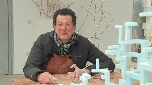 sir antony gormley launches nationwide art project; england: int sir antony gormley 2-way interview sot / cutaway of reporter - cutaway video transition stock videos & royalty-free footage