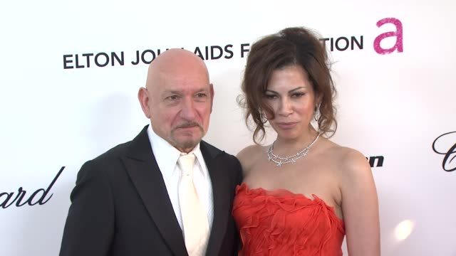 sir ben kingsley, daniela lavender at the 19th annual elton john aids foundation academy awards viewing party at west hollywood ca. - ben elton stock videos & royalty-free footage