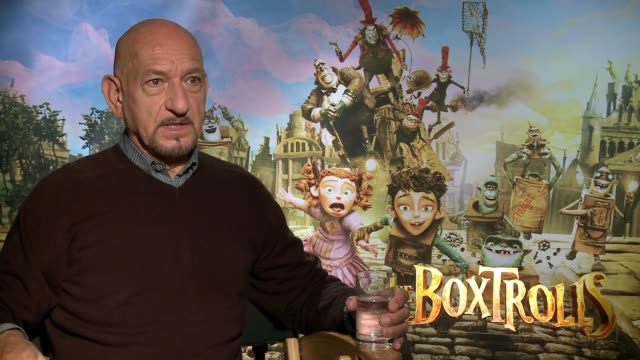 """sir ben kingsley on doing another crime flick like """"sexy beast"""", on these films being masked as children's film but really aimed at adults, on if he... - the beverly hilton hotel stock videos & royalty-free footage"""