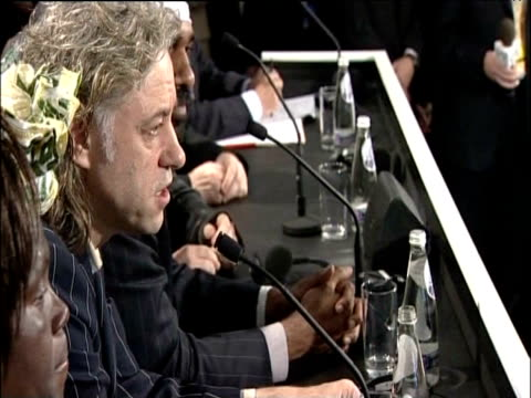 sir bob geldof talks to press at g8 summit stating that no deal has been made on fighting poverty in africa gleneagles hotel scotland 06 jul 05 - g8 stock-videos und b-roll-filmmaterial