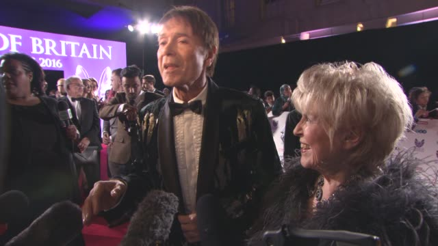 sir cliff richard, gloria hunniford on being at the 'pride of britain awards, their proudest achievements at pride of britain awardspride of britain... - gloria hunniford stock videos & royalty-free footage