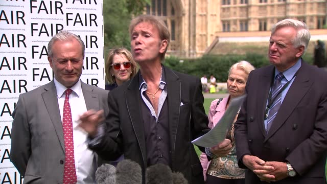 sir cliff richard sex offence anonymity campaign press conference / cutaways; england: london: westminster: ext sir cliff richard press conference sot - cliff richard stock videos & royalty-free footage