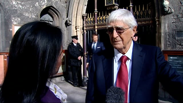 sir david frost memorial service at westminster abbey ext sir michael parkinson interview sot - david frost broadcaster stock videos & royalty-free footage