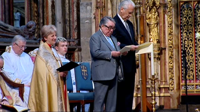 sir david frost memorial service at westminster abbey ronnie corbett standing alongside former foreign secretary lord owen at memorial service - ronnie corbett stock videos and b-roll footage