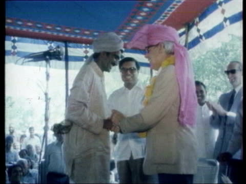 sir dennis thatcher death announced lib denis thatcher wearing turban during visit to india tilt - turban stock videos & royalty-free footage