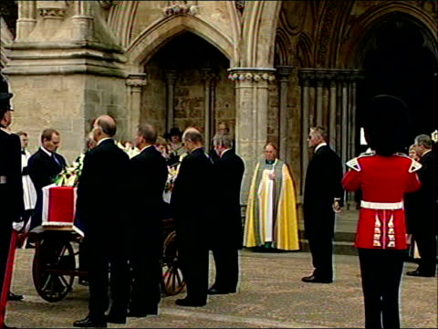 funeral service at salisbury cathedral; england: salisbury: ext salisbury cathedral as people mill around in f/g int mourners, including douglas hurd... - douglas hurd stock-videos und b-roll-filmmaterial