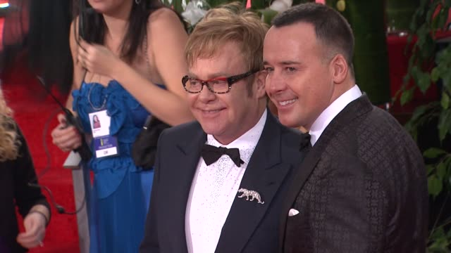 Sir Elton John and David Furnish at 69th Annual Golden Globe Awards Arrivals on January 15 2012 in Beverly Hills California
