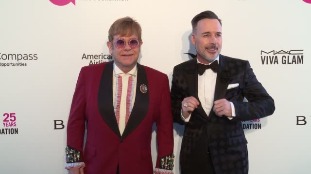 sir elton john and david furnish at elton john aids foundation presents the 26th annual academy awards viewing party on march 04 2018 in west... - elton john stock videos & royalty-free footage